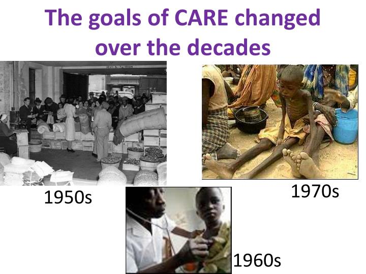 The goals of care changed over the decades