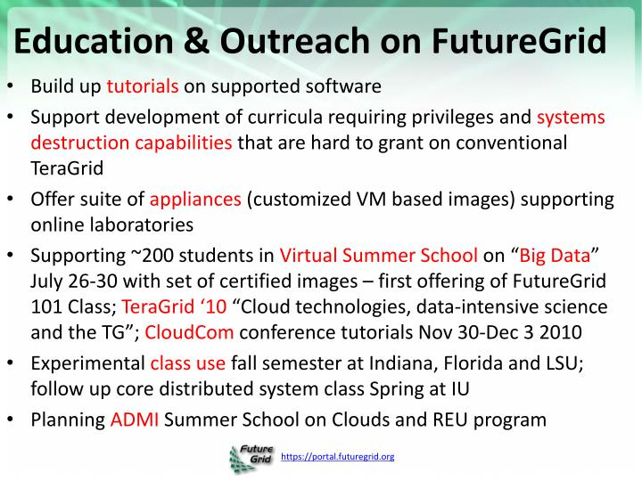 Education & Outreach on FutureGrid