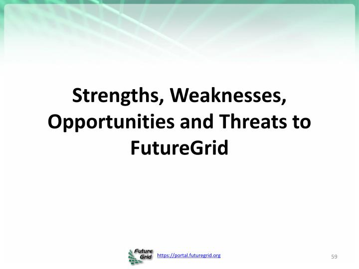 Strengths, Weaknesses, Opportunities and Threats to FutureGrid