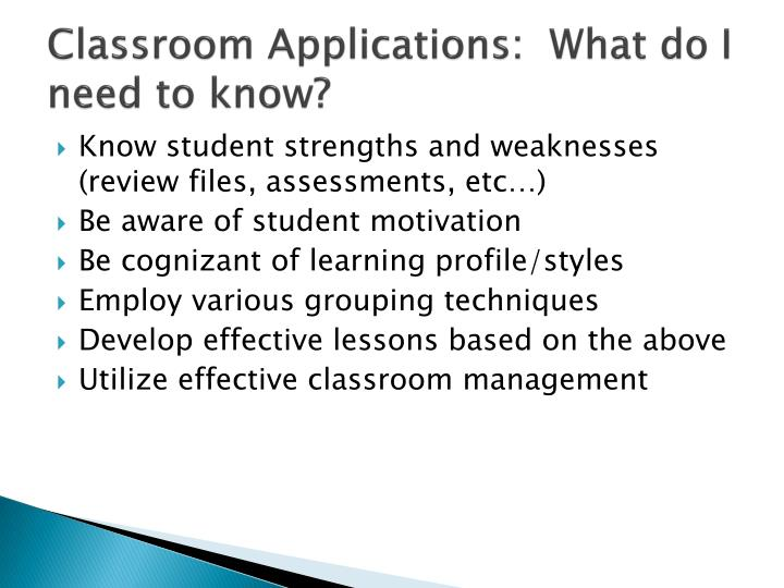 Classroom Applications:  What do I need to know?