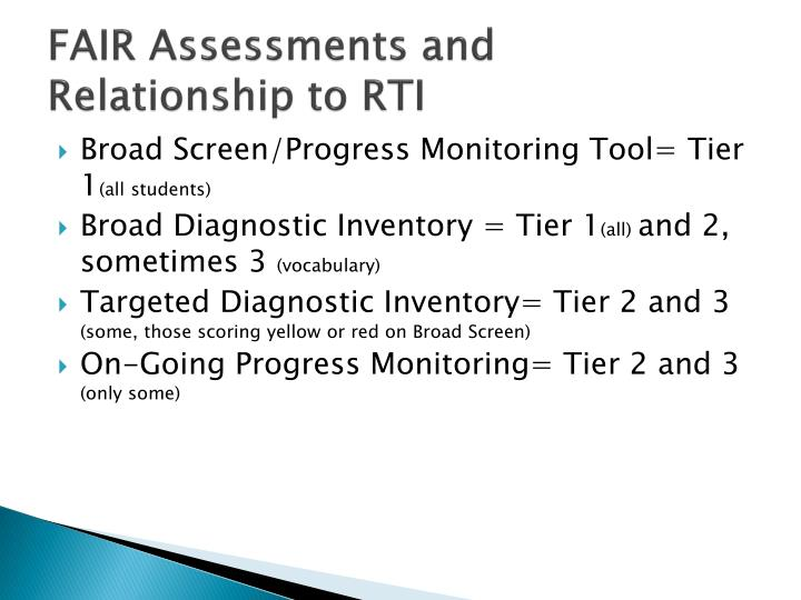 FAIR Assessments and Relationship to RTI