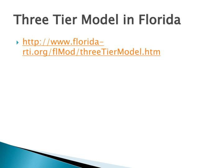 Three Tier Model in Florida
