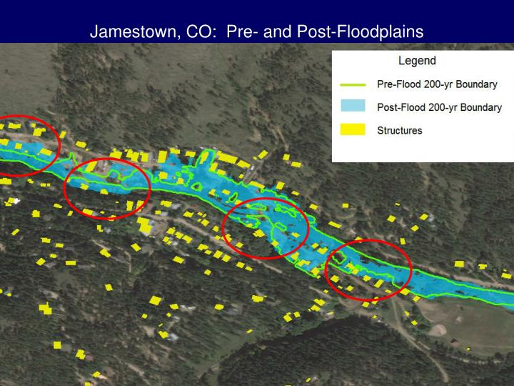 Jamestown, CO:  Pre- and Post-Floodplains