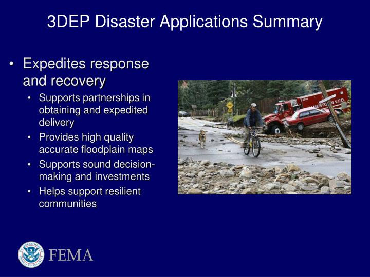 3DEP Disaster Applications Summary