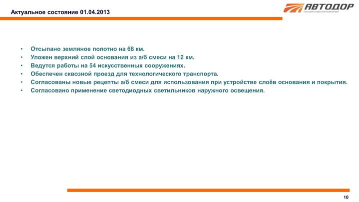 Актуальное состояние 01.04.2013