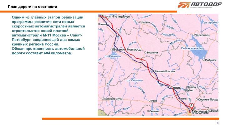План дороги на местности