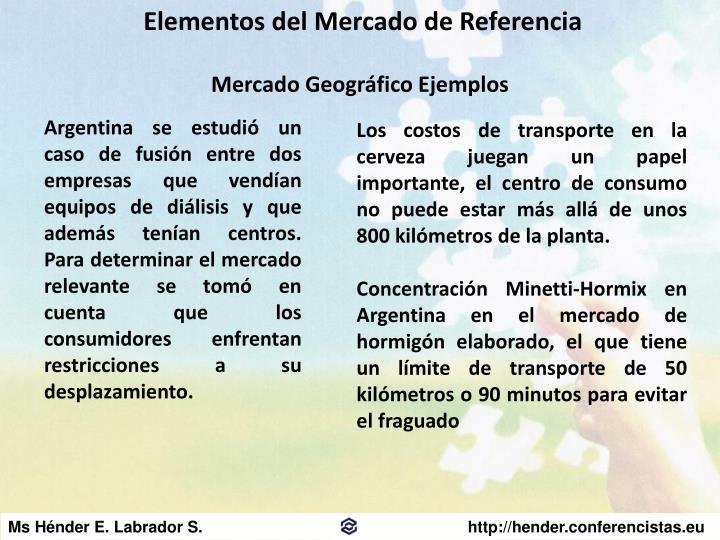 Elementos del Mercado de Referencia