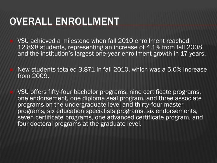 VSU achieved a milestone when fall 2010 enrollment reached 12,898 students,