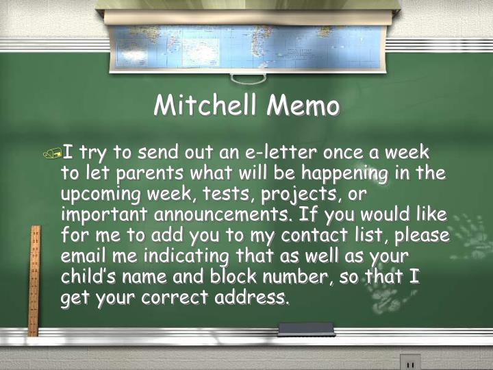 Mitchell Memo