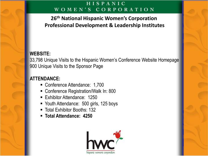 26 th national hispanic women s corporation professional development leadership institutes