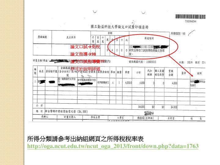 論文口試→免稅