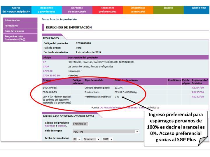 Ingreso preferencial para espárragos peruanos de 100% es decir el arancel es 0%. Acceso preferencial gracias al SGP Plus