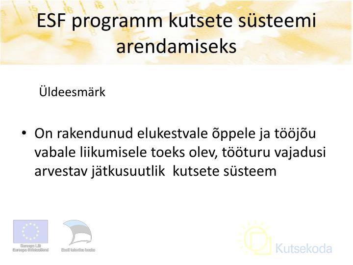 ESF programm kutsete süsteemi arendamiseks