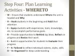 step four plan learning activities whereto