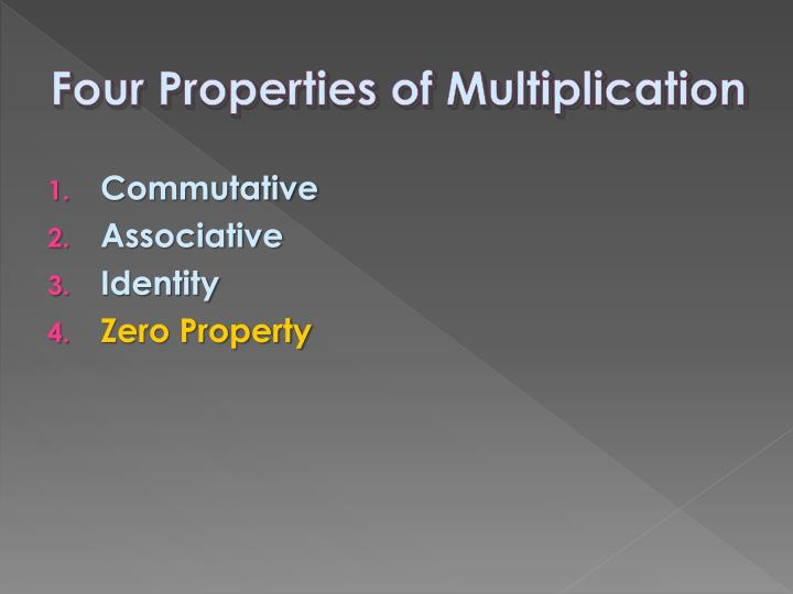 Four Properties of Multiplication