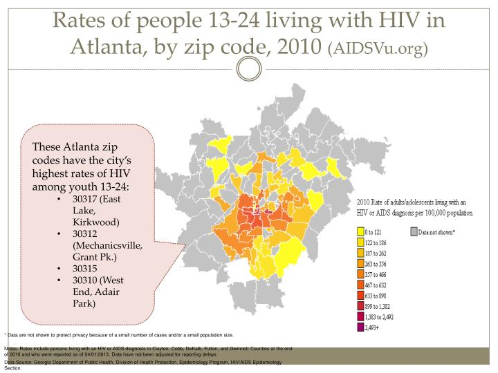 Rates of people 13-24 living with HIV in Atlanta, by zip code, 2010