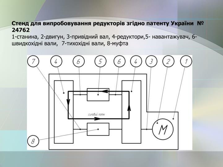 Стенд для випробовування редукторів згідно патенту України  № 24762