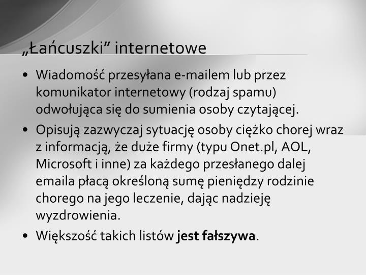 """""""Łańcuszki"""" internetowe"""