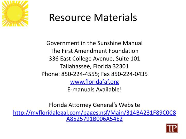 Resource Materials