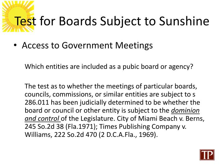 Test for Boards Subject to Sunshine