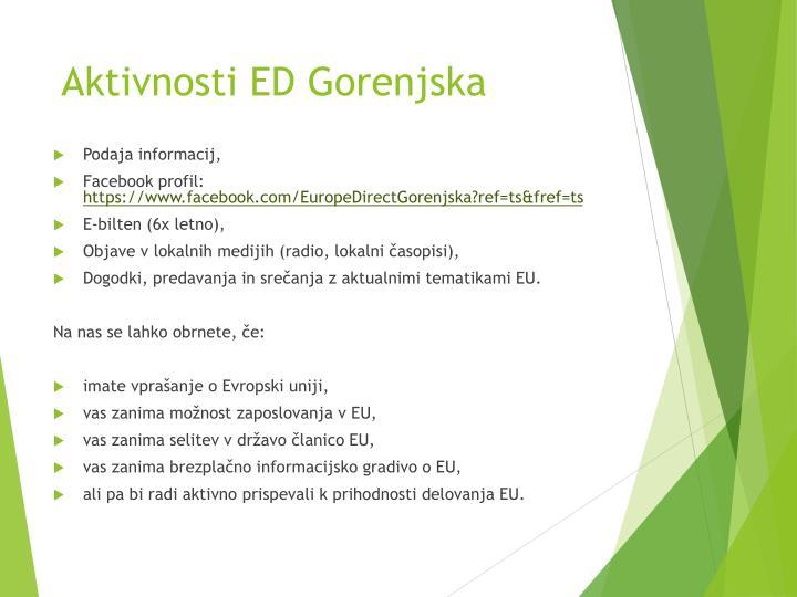 Aktivnosti ED Gorenjska