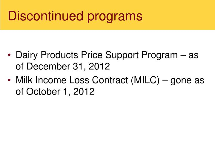 Discontinued programs