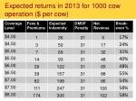 expected returns in 2013 for 1000 cow operation per cow