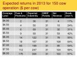 expected returns in 2013 for 150 cow operation per cow