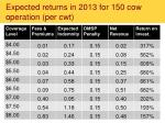 expected returns in 2013 for 150 cow operation per cwt