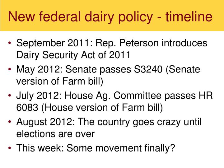 New federal dairy policy - timeline
