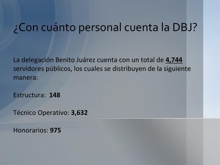 ¿Con cuánto personal cuenta la DBJ?