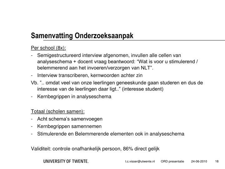 Samenvatting Onderzoeksaanpak