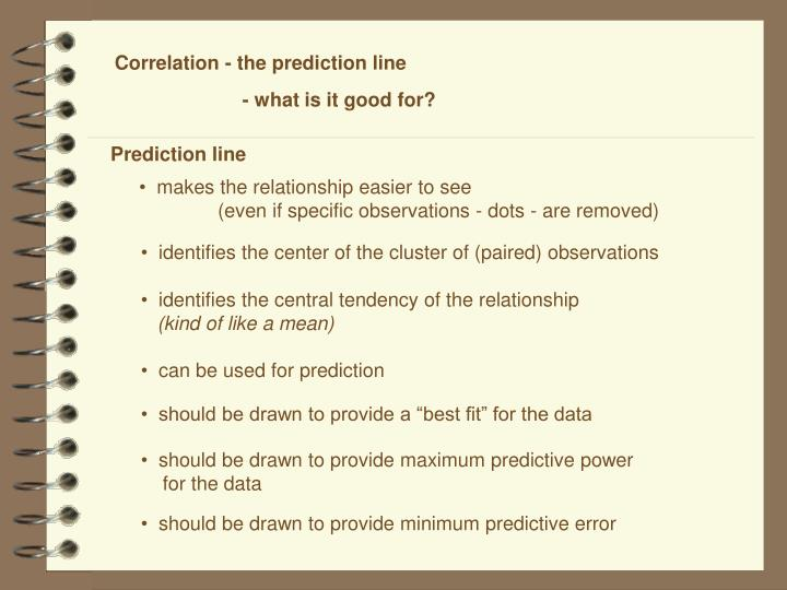 Correlation - the prediction line