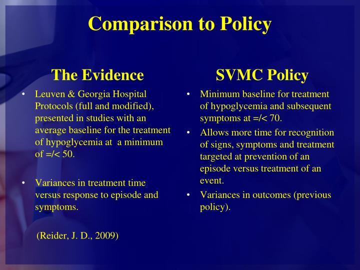 Comparison to Policy