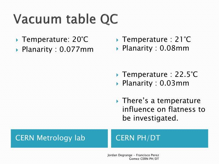 Vacuum table QC