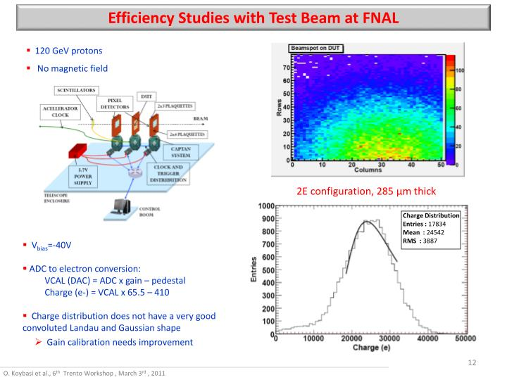 Efficiency Studies with Test Beam at FNAL