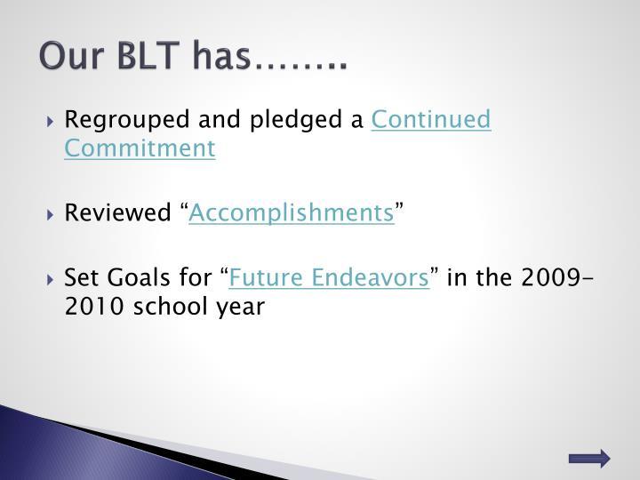 Our BLT has……..