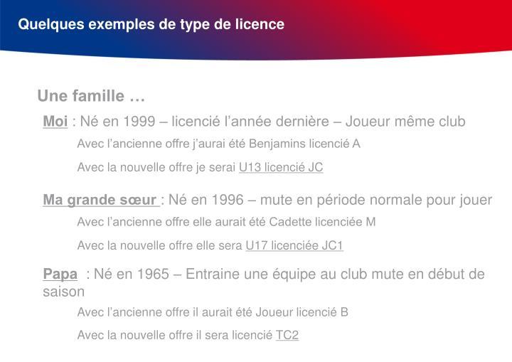 Quelques exemples de type de licence