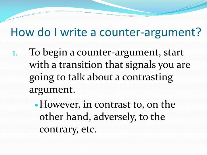 persuasive essay counter argument example