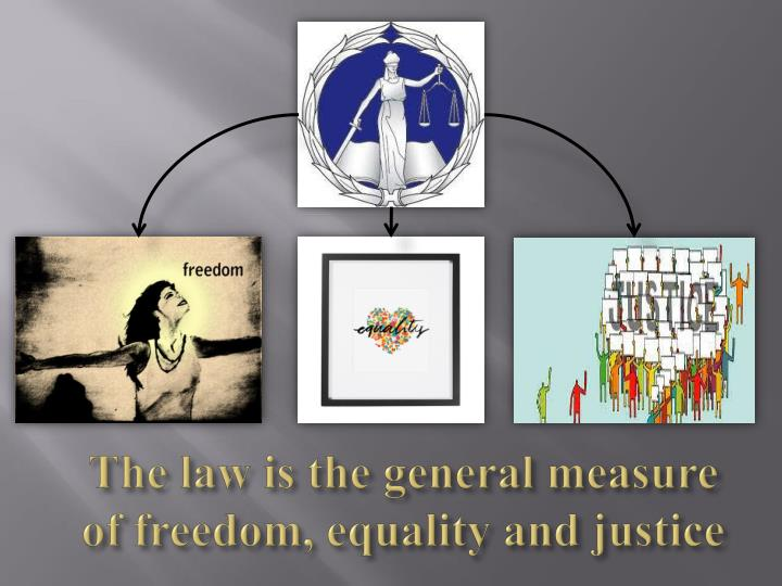 The law is the general measure of freedom, equality and justice