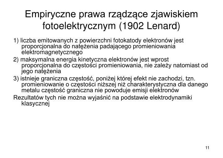 Empiryczne prawa rządzące zjawiskiem fotoelektrycznym (1902