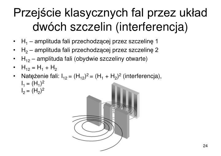 Przejście klasycznych fal przez układ dwóch szczelin (interferencja)