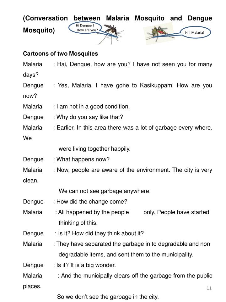 (Conversation between Malaria Mosquito and Dengue Mosquito)