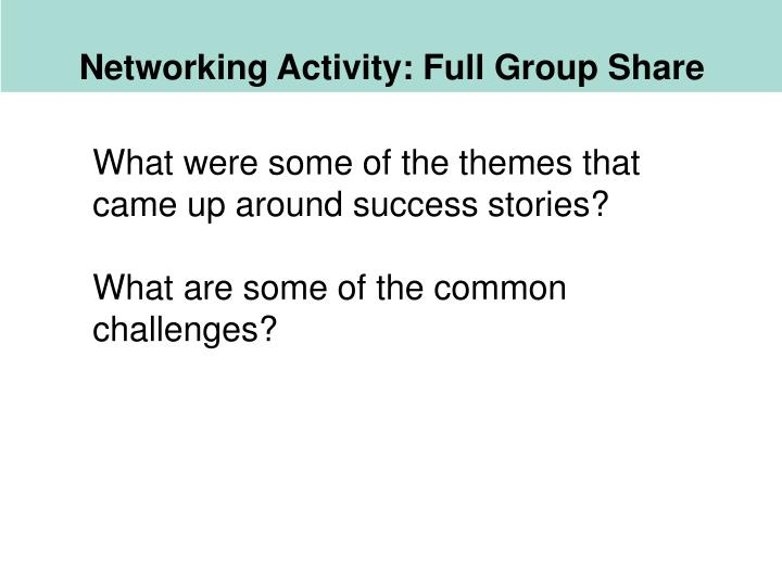 Networking Activity: Full Group Share