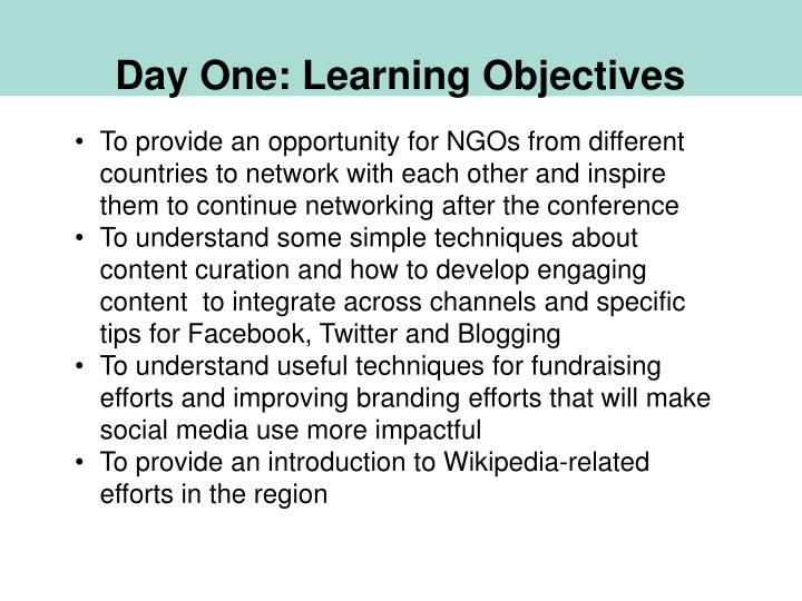 Day One: Learning Objectives