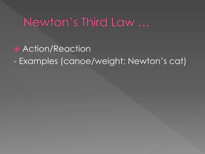 Newton's Third Law …