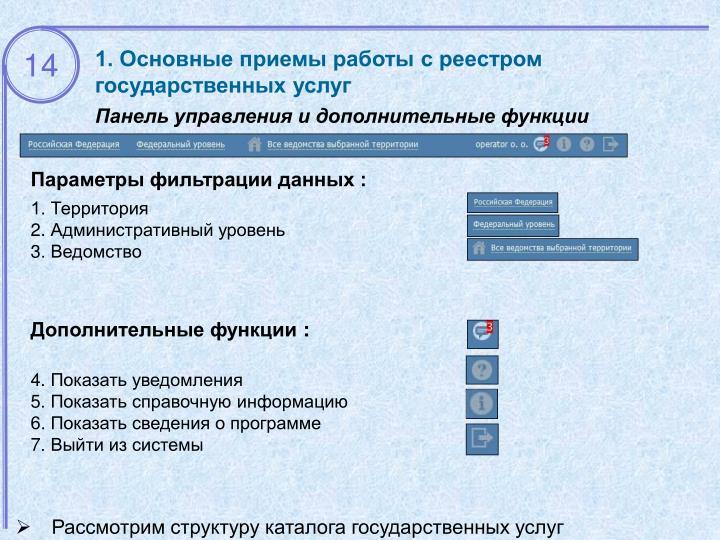1. Основные приемы работы с реестром государственных услуг