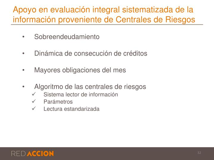Apoyo en evaluación integral sistematizada de la información proveniente de Centrales de Riesgos