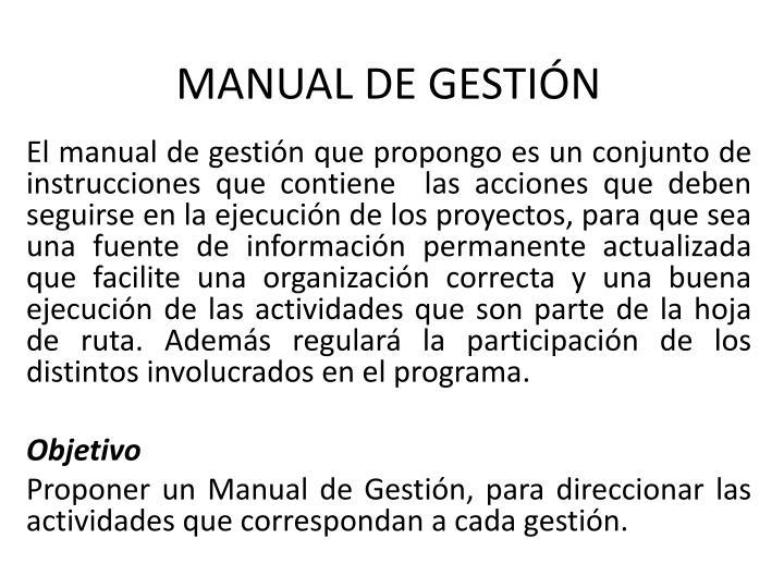 MANUAL DE GESTIÓN