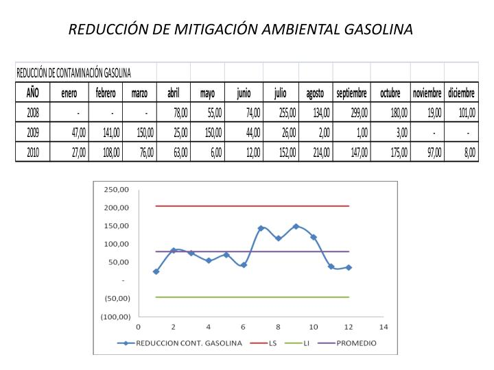 REDUCCIÓN DE MITIGACIÓN AMBIENTAL GASOLINA